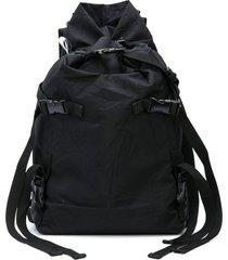 the viridi-anne crinkle effect buckle detail backpack - black