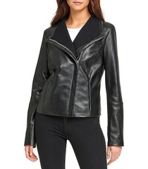 dkny women's asymmetric leather jacket - black - size s