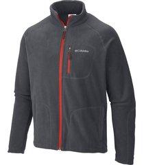 chaqueta gris y naranja columbia fleece  fast trek full zip
