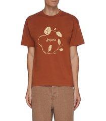 'le t-shirt jean' leaf graphic print cotton t-shirt