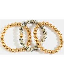 ember stone beaded bracelet set - black/white