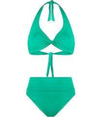 fisico twist-front high-waisted bikini - green