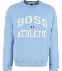 hugo boss boss x russell athletic - cotton crew-neck sweatshirt with logo