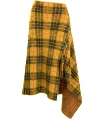 monse asymmetrical tartan mohair skirt - yellow