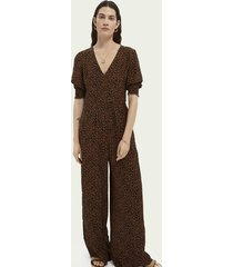 scotch & soda printed v-neck jumpsuit