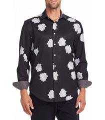 tallia men's slim fit performance stretch black peony long sleeve shirt and a free face mask with purchase