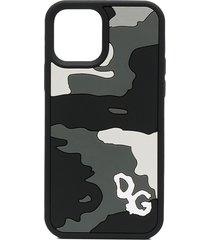 dolce & gabbana camouflage iphone 12 pro case - black
