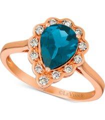 le vian london blue topaz (1-5/8 ct. t.w.) & diamond (1/4 ct. t.w.) ring in 14k rose gold