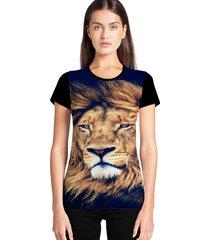 camiseta feminina ramavi leão manga curta
