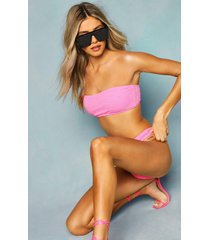 mix & match crinkle bandeau top, pink