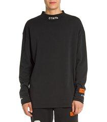 heron preston men's concrete jungle drawstring hoodie - black - size xxs