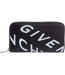 men's givenchy refracted leather zip wallet - black