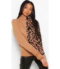 leopard spliced print roll neck sweater, tan