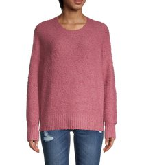 saks fifth avenue women's bouclé sweater - rose mauve - size l