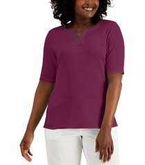 karen scott embroidered-trim top, created for macy's