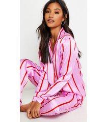 satijnen skinny pyjamabroekset met strepen, roze