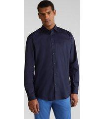 camisa slim unicolor con coolmax azul marino esprit