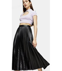 black pleated pu midi skirt - black