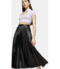 black pleated pu midi skirt - black