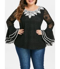 plus size bell sleeve lace blouse