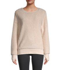marc new york performance women's faux fur sweatshirt - cream - size m