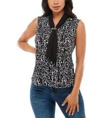 adrienne vittadini women's sleeveless top with draped scarf