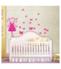 adesivo de parede cartelas menina com borboletas - p 50x22cm