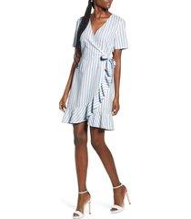 women's vero moda helenmilo stripe wrap linen blend dress, size x-small - blue