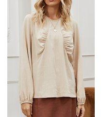 camicetta base casual a maniche lunghe plissettata tinta unita per donna