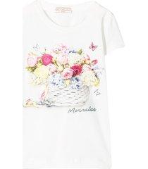 monnalisa floral logo print t-shirt