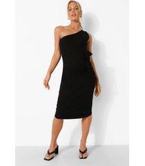 zwangerschap geribbelde premium midi jurk met eén blote schouder, black