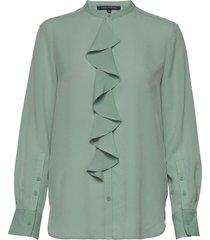 elna light ruffle shirt blus långärmad grön french connection
