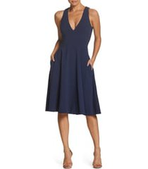 women's dress the population catalina fit & flare cocktail dress, size x-small - blue