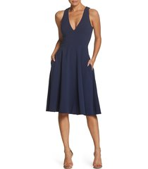 women's dress the population catalina fit & flare dress, size large - blue