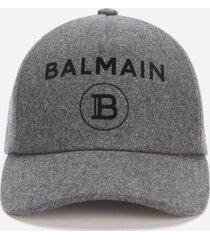 balmain men's wool flocked cap - gris