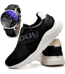 tênis sapatênis casual asgard com relógio masculino db 243lbm preto