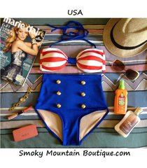 usa retro high waist swimsuit (red & white striped top and solid blue bottom)