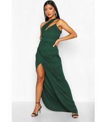 one shoulder maxi dress, bottle green
