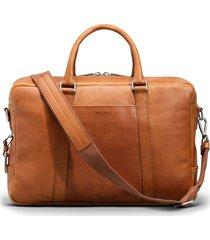 men's shinola signature leather slim briefcase - brown
