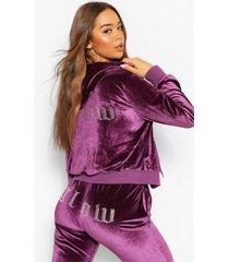 velours 'glow' hoodie met steentjes en rits, purple