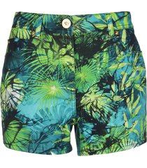 versace green stretch cotton shorts