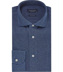 profuomo knitted heren overhemd jeans blauw