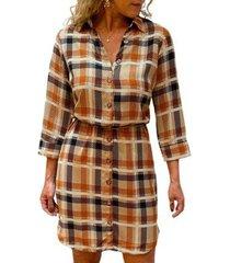 vestido chemise xadrez feminino - feminino