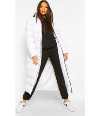 tall lange gewatteerde maxi jas, white