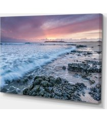 "designart sunset on cape trafalgar beach seascape canvas art print - 32"" x 16"""