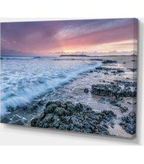 "designart sunset on cape trafalgar beach seascape canvas art print - 32"" x 16"""