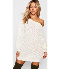 petite wafel gebreide sweatshirt jurk met open schouders, crème