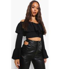 blouse met ruches en laag uitgesneden hals, black