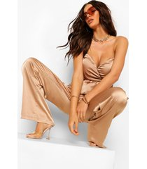 satin ruched tie sleeve corset top, taupe