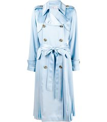 red valentino pleated belted trench coat - blue